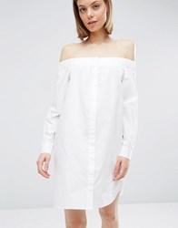 Asos Off Shoulder Cotton Shirt Dress White