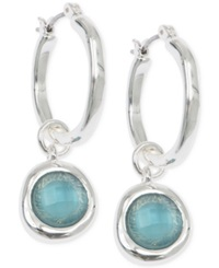 Jones New York Silver Tone Blue Stone Drop Off Hoop Earrings Light Turq