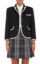 Thom Browne Women's Grosgrain Tipped Down Quilted Cashmere Jacket Navy White Navy White