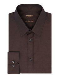 Corsivo Men's Bacco Italian Fabric Classic Shirt Chocolate