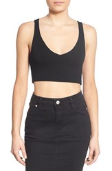 Junior Women's Bp. Ribbed V Neck Crop Tank Black
