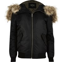 River Island Mens Black Faux Fur Hooded Bomber Jacket