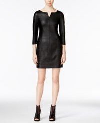 Armani Exchange Faux Leather Sheath Dress Solid Black