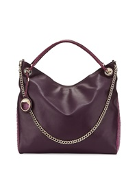 Class Roberto Cavalli Cameo Ostrich Embossed Trim Leather Hobo Bag Purple