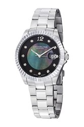 Stuhrling Women's Lady Clipper Pearl Swarovski Crystal Accented Watch Metallic