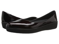 Fitflop Patent Superballerina Dark Cherry Women's Clog Mule Shoes Black