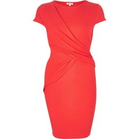 River Island Womens Orange Ruched Wrap Bodycon Dress