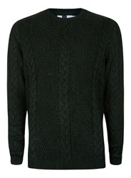 Topman Green Twist Rope Cable Crew Neck Jumper
