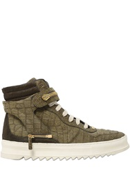 D S De Croc Embossed Leather High Top Sneakers Military Green