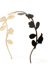 Marni Enameled Gold Tone Headband Black