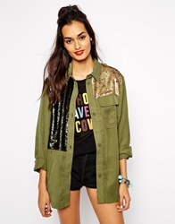 Native Rose Sequin Patched Khaki Trapper Jacket Green