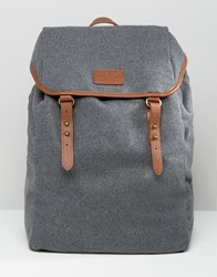 Asos Backpack In Grey Melton With Brown Straps Grey