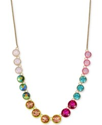 Betsey Johnson Gold Tone Multicolor Faceted Stone Statement Necklace
