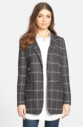 Trouve Long Boyfriend Blazer Grey Charcoal Double Grid