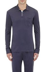 Barneys New York Men's Long Sleeve Polo Shirt Blue