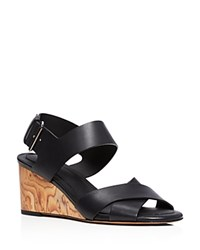 Vince Gwyn Mid Heel Wedge Sandals Black