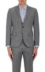 Brooklyn Tailors Men's Micro Houndstooth Wool Two Button Sportcoat Dark Grey