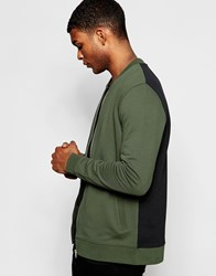 Asos Jersey Bomber Jacket With Color Block In Khaki Khaki