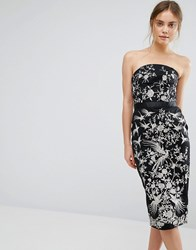 Oasis Osaka Embroidered Bandeau Dress Black