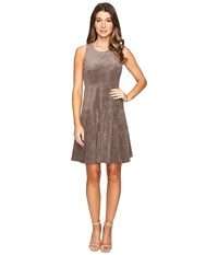 Ivanka Trump Fit And Flare Faux Suede Dress Heather Taupe Women's Dress