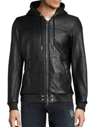Diesel Mecons Textured Leather Jacket Black