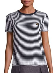Red Valentino Cotton Striped Tee Ivory Blue