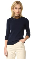 Tory Burch Flore Leather Collar Sweater Midnight Navy