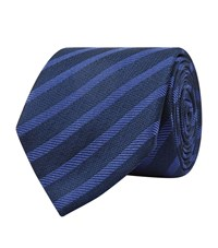 Harrods Of London Textured Stripe Tie Unisex Navy