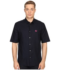 Mcq By Alexander Mcqueen Short Sleeve Sheehan Ink Men's Short Sleeve Button Up Black