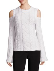 Yigal Azrouel Cold Shoulder Wool Cable Knit Sweater Ivory