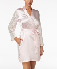 Thalia Sodi Lace Sleeve Satin Wrap Robe Only At Macy's Blush