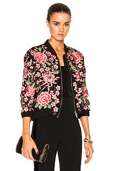 Needle And Thread Embroidered Rose Bomber In Black Floral Red Black Floral Red