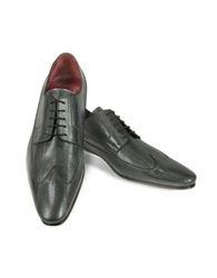 Fratelli Borgioli Handmade Blue Gray Eel Leather Wingtip Dress Shoes Blue Gray