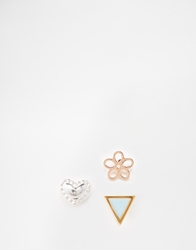 Orelia 3 Pack Summer Multi Stud Earrings