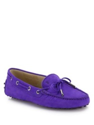 Tod's Gommini Tie Front Leather Loafers Purple Blue Yellow