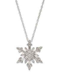 Macy's 14K White Gold Diamond Snowflake Pendant Necklace 1 3 Ct. T.W.
