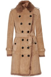 Burberry Toddingwall Shearling Trench Coat Camel