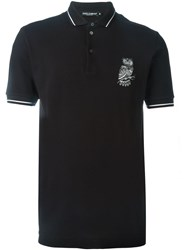 Dolce And Gabbana Owl Patch Polo Shirt Blue