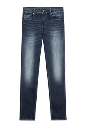 7 For All Mankind Seven For All Mankind Stretch Cotton Skinny Jeans Blue