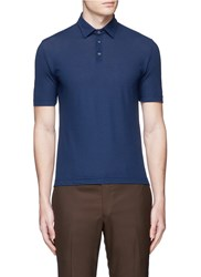 Incotex Ice Cotton Fine Knit Polo Shirt Blue