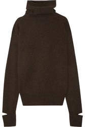 Joseph Cape Effect Wool Turtleneck Sweater Brown