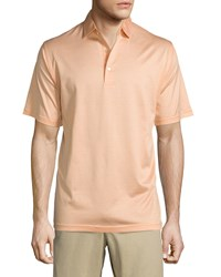 Peter Millar Lisle Knit Thin Stripe Polo Shirt Orange