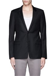 Lanvin Slim Fit Stripe Wool Jacquard Blazer Black