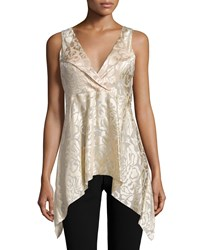 Donna Karan Sleeveless V Neck Draped Tunic Parchment Women's