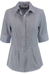 10 Crosby By Derek Lam Striped Cotton Shirt Black