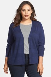 Halogen Lightweight Merino Wool V Neck Cardigan Plus Size Blue