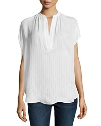 Vince Cap Sleeve Dotted Voile Blouse White
