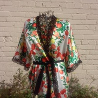 Citrus Silk Short Robe Lemons And Oranges By Ericawaddellclothing
