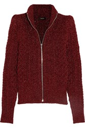Isabel Marant Daley Cable Knit Lurex Cardigan Claret