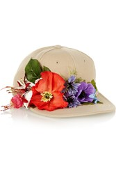 Piers Atkinson Flower Embellished Canvas Cap Nude